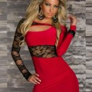 Free Shipping Hot Sale Summer Daring Lace Red Mini Clubwear Sexy Dress Cut-out Dress W373038B