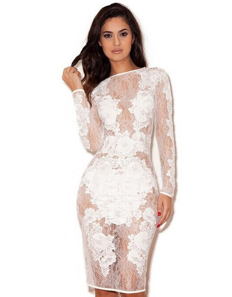 Where to buy Long Sleeve Mesh Sexy Party Dress Fashion White Lace Dresses