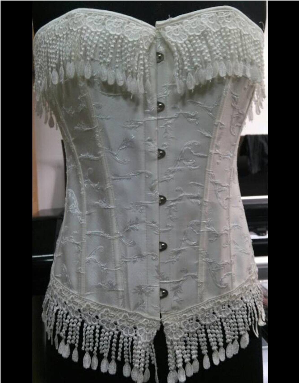White Ribbon Detailing Sexy Vintage Gorset Burlesque Women Classic Corset