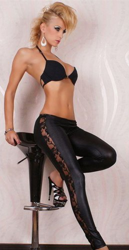 Sexy Faux Leather Pants PVC Women Leggings with Lace Decoration WL7046