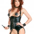 New Arrival Black Steam Punk Sexy PVC Fetish Wear Lingerie Set W850750