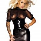 Black Sexy Wetlook Club Dress With Tulle W860709
