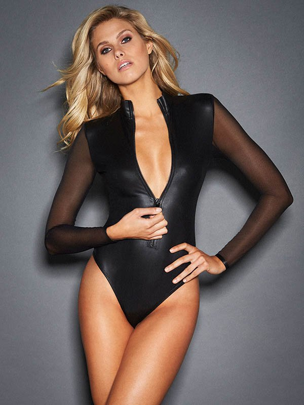 Sexy Black PVC Bodysuits Mesh Long Sleeve Playsuit W861224