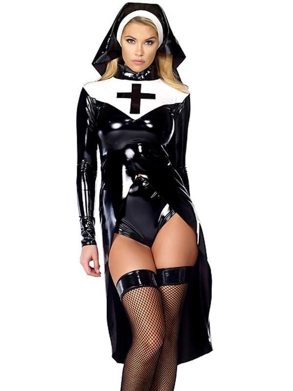 Halloween cosplay Black Women sexy nun costume Vinyl Leather Cosplay Halloween Costume W850640