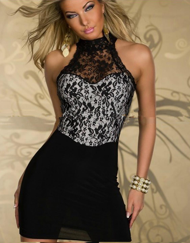 Lace White Party Dresses Halter Neck Off Shoulder Fashion Transparent Slim Short Dress