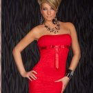 Elegant Evening Night Club Dress Strapless Bowknot Red Lace Slim Packaged-Hip Mini Dress