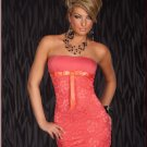 Pink Elegant Mini Sexy Party Dress Strapless Bowknot Ribbon Night Club Wear