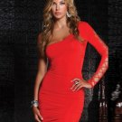 Ripped Long Sleeve Slim Mini Dress Women Sexy Red One-shoulder Night Clubwear