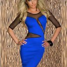 Blue Mesh Split Fashion Clubwear Sexy Slim Midi O-Neck Blue Dress