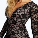 Fashion Little Black Mini Dresses With V-neck Floral Lace Long Lace Sleeves Party Dress