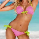 L Size Spaghetti Strap Pink Color Hot Sexy Bikini Set With Yellow Strap Ties W9438B