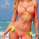 L Size Pink Color Pucker Bra Front Hot Sexy Swimswear With Tri-cup And Straps W9438G