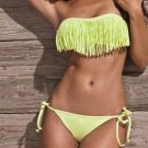 New Hot Fashion Bandeau M Size Light Green Swimwear With Fringe Design W9399A