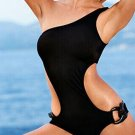 S/M/L/XL Size Black One Piece Hot Sexy One Shoulder Strap Swimwear With Keyhole Sides W629716A