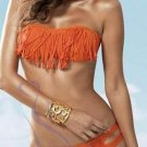 M Size Orange Color Hot Sexy Swimwear With Tassel Design And Keyhole Details W399402D