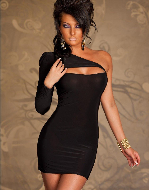 One Shoulder Split One Size Hot Fashion Black Bodycon Women Dress W203121A
