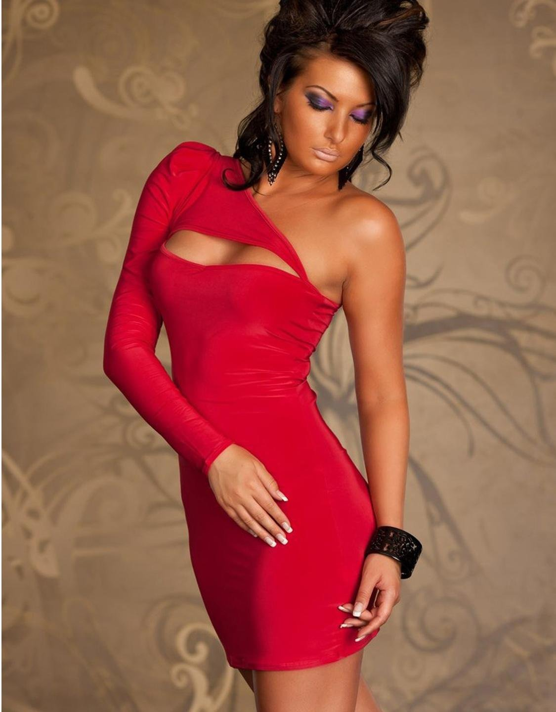 New Sexy Red Color One Size One Shoulder Hot Fashion Bodycon Women Dress W203121B