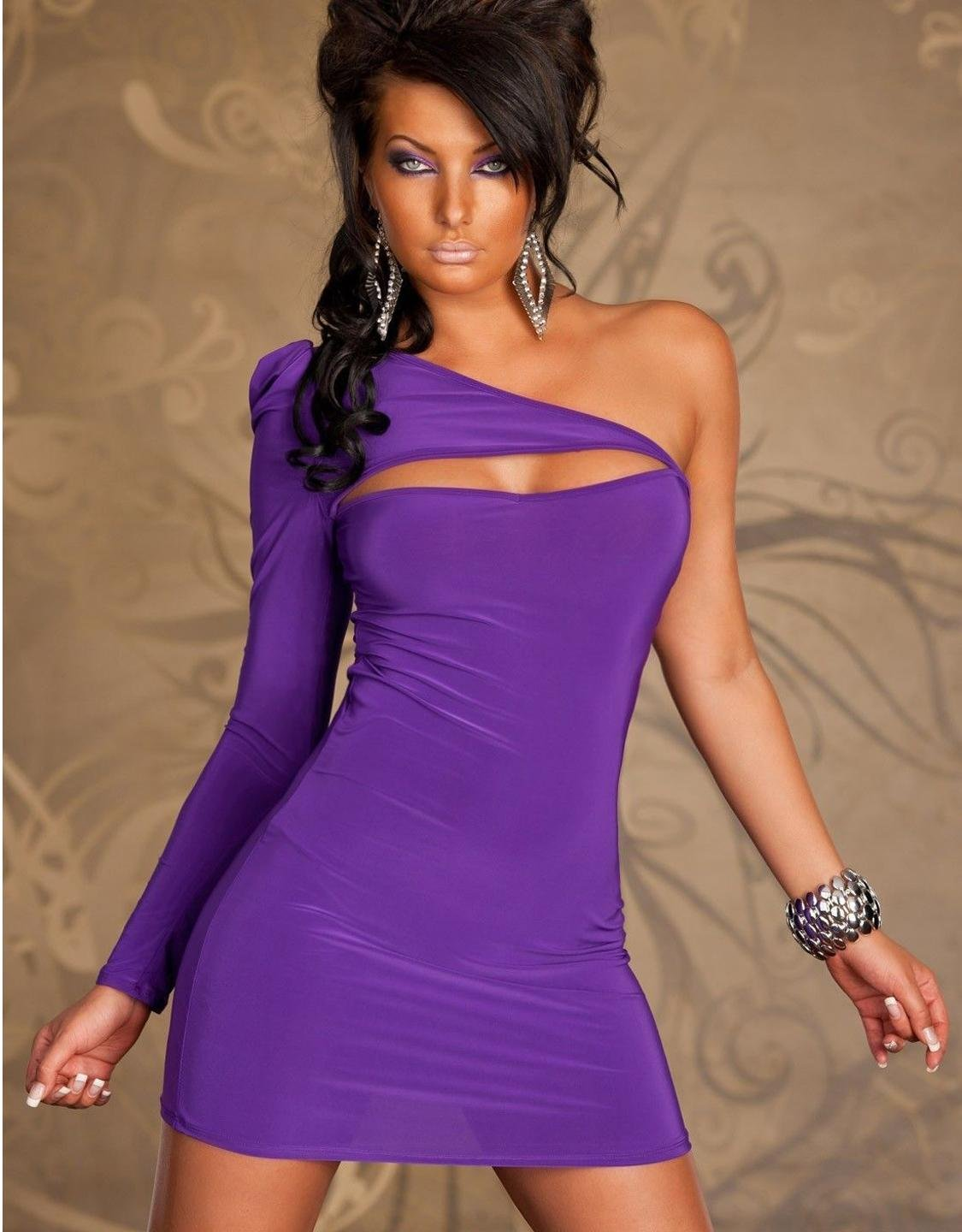 Purple Color One Shoulder Fashion Sexy One Size Bodycon Dress For Women W203121C