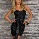 Hot Black Evening Dress With Satin Ribbon Waist Ties Fashion Sexy Sequin Dresses