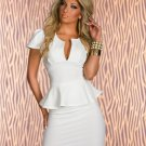 White Color U-Neck Women OL Peplum Dresses Short Sleeve Fashion Sexy Cocktail Dress