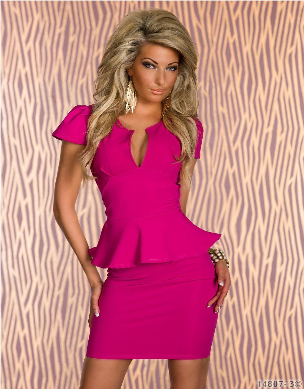 M/L Size Rose Color OL Fashion Sexy Peplum Dress With U-neck W203078D