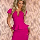 M/L Size Rose Color OL Fashion Sexy Peplum Dress With U-neck W203078D