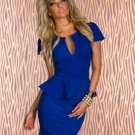 Short Sleeve OL Hot Fashion Peplum U-neck  Sexy Blue M Size Dress W203078C
