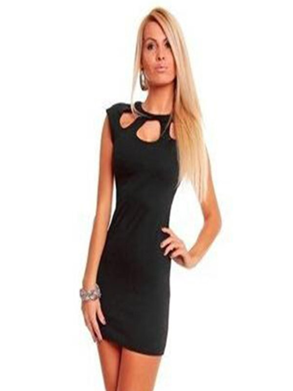 New Sexy Black Short Sleeve One Size Hot Mini Dress With Round Keyhole Front W123414