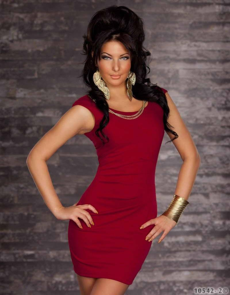Wine Red Color Round Neckline M Size Hot Fashion Dress With Sleeveless And V-neck Back W3415B