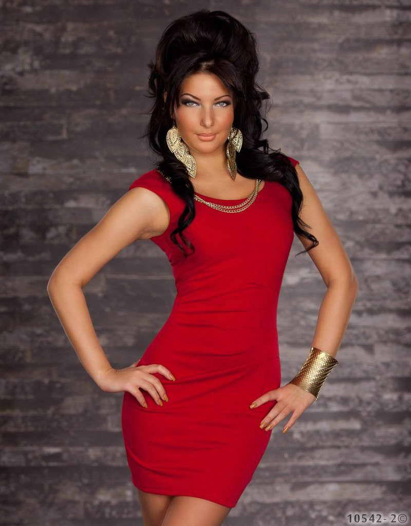 Hot New M Size Red Short Tight Dresses For Clubs With Round Neckline W123415D