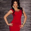 Red Short Tight Dresses Clubs Round Neckline Clubwear