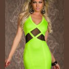 Light Green V-neck Party Mini Dresses V-neck Patchwork Bodycon Sexy Dress