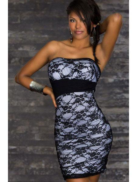 Hot Sexy Black One Size StraplessFloral Lace Pencil Dress For Women W3437