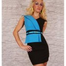 Sexy Black And Blue One Size Summer Hot Sale Mini Dresses With Waist Belt W403441B