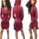 Wine Red Color Hot Sale Plus Size XXL Size Fashion Dresses Long Sleeve Hooded Collar Dress
