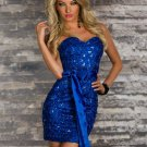 Strapless Sequin Bodice Mini Dresses Fashion Blue Satin Ribbon Waist Ties Sexy Dress