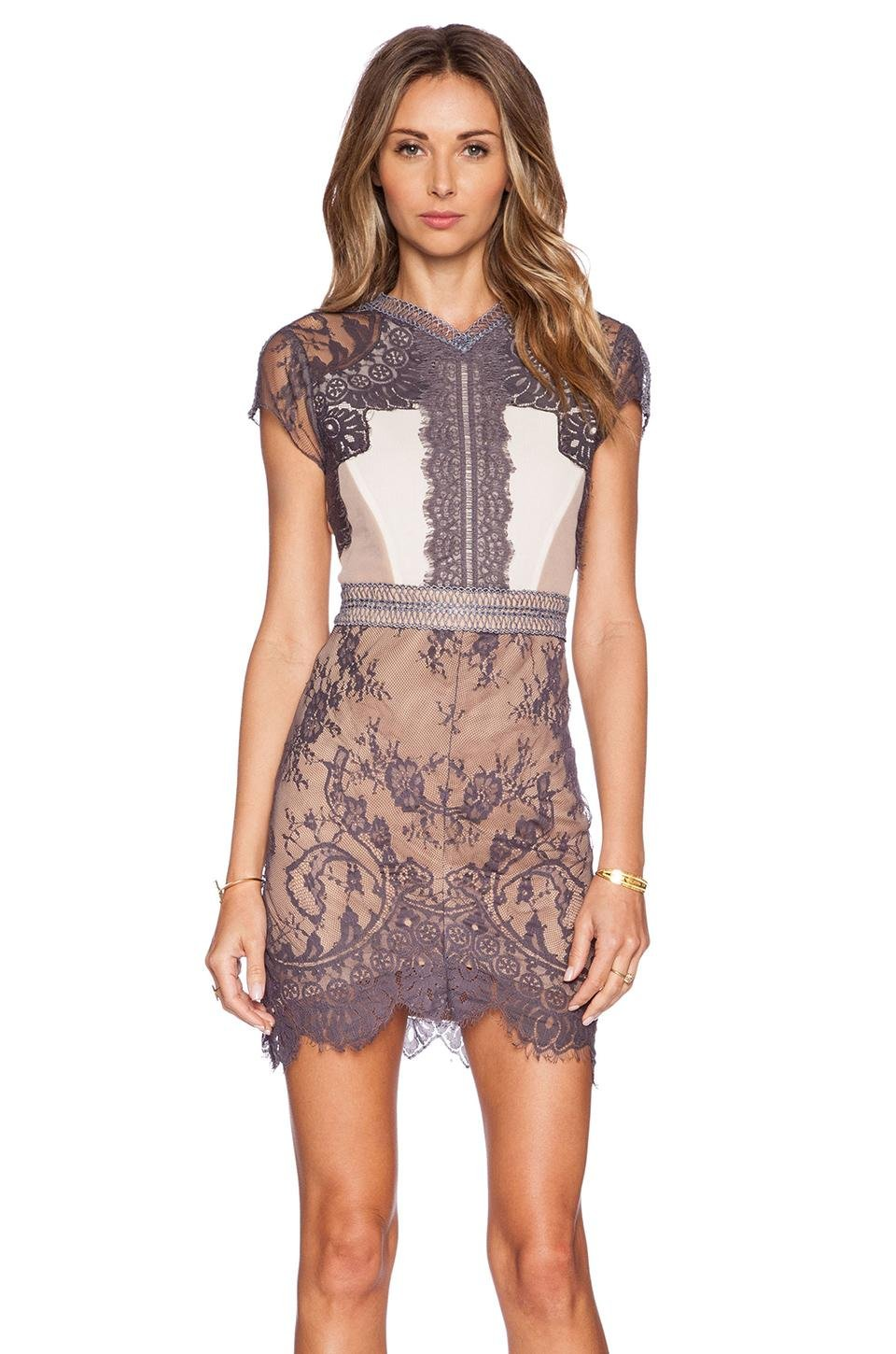Floral Lace Bodice New Fashion M-XL Size Sexy Dress For Women With V-neck Back W850632