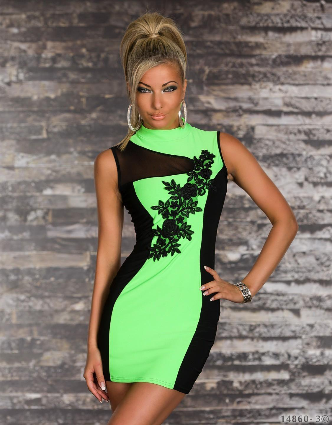 Floral Lace Print Front Fashion M Size Green Vintage Dress With Keyhole Detail Back W573918