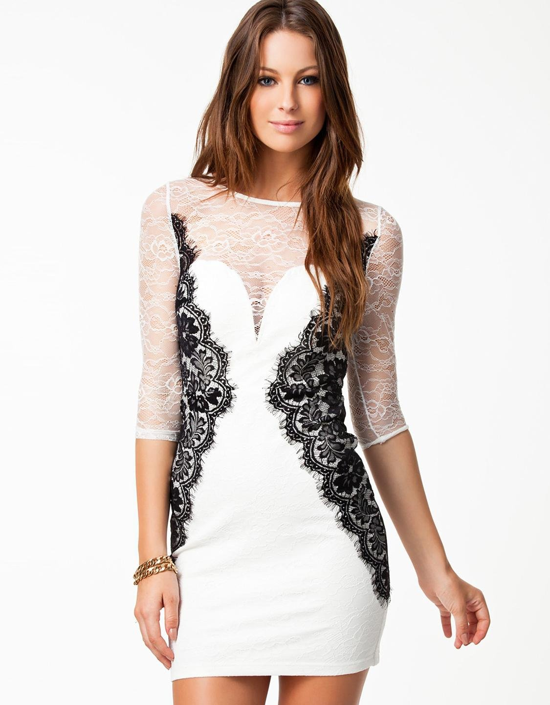 Fashion Long Sleeve White Color XL Size Beauty Lace Bodycon Dress W573922