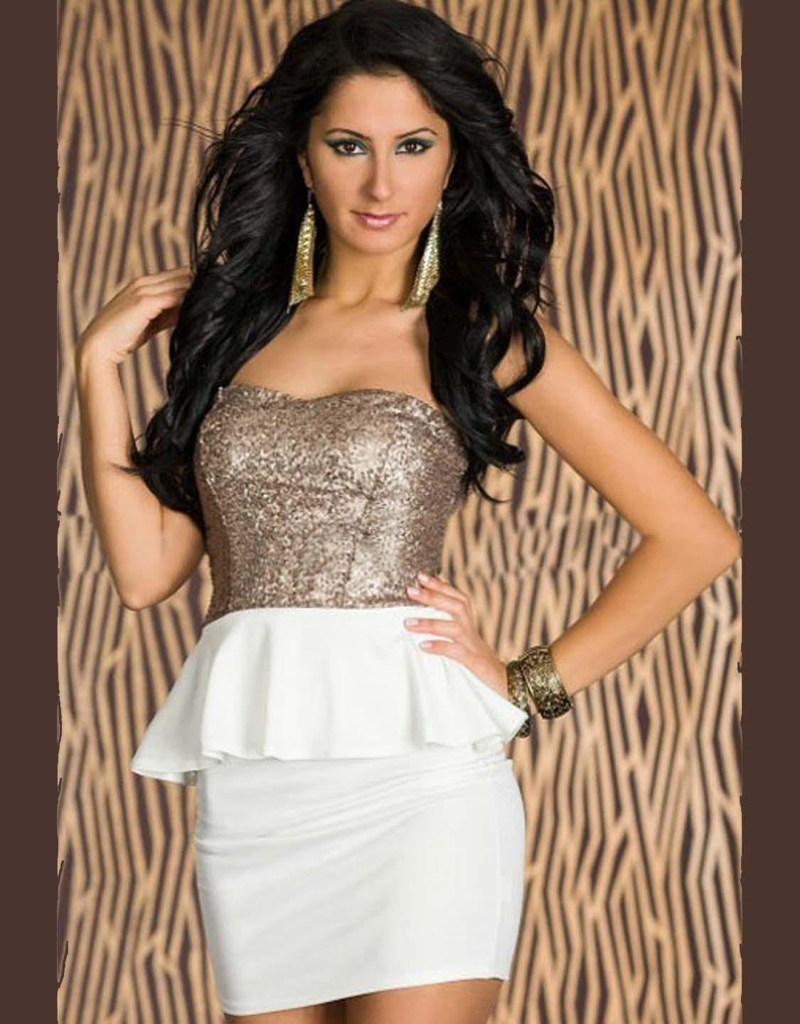 M/L Size New Fashion Sequins Strapless Peplum Design Dress With Keyhole Cut Out Back W203329A