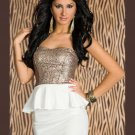 Fashion Women Sequins Dresses Sexy Strapless Keyhole Cut Out Peplum Dress
