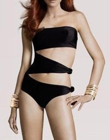 Black One Piece L Size Strapless Sides Cut Out Sexy Bathing Sets W619511