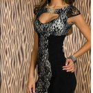 Retro Floral Lace Black Cup Sleeve Sexy Bodycon Dress W2084306A