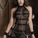 High Neck Halter Mesh Accents 2XL Size Sexy Black Teddy Lingerie With Wide Strap Details W850723