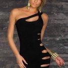 Slinky Sexy Cut-Outs Black One Size One Shoulder Mini Hot Fashion Dress W123411A