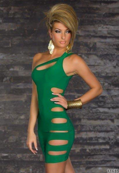 One Shoulder Strap Green Color Hot New One Size Slinky Mini Dress With Sexy Cut-Outs W123411B