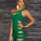 One Shoulder Hollow Out Clubwear Green Color M Size Sexy Cut-Outs Slinky Mini Dress
