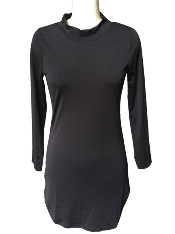 Sexy Stand-Up Collar Casual Dress M-2XL Size Long Sleeve Black Casual Dress Women
