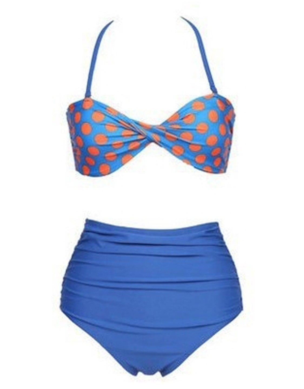 Hook And Eye Back S/M/L/XL Size Blue Halter Ties High Waist Swimwear W399476C