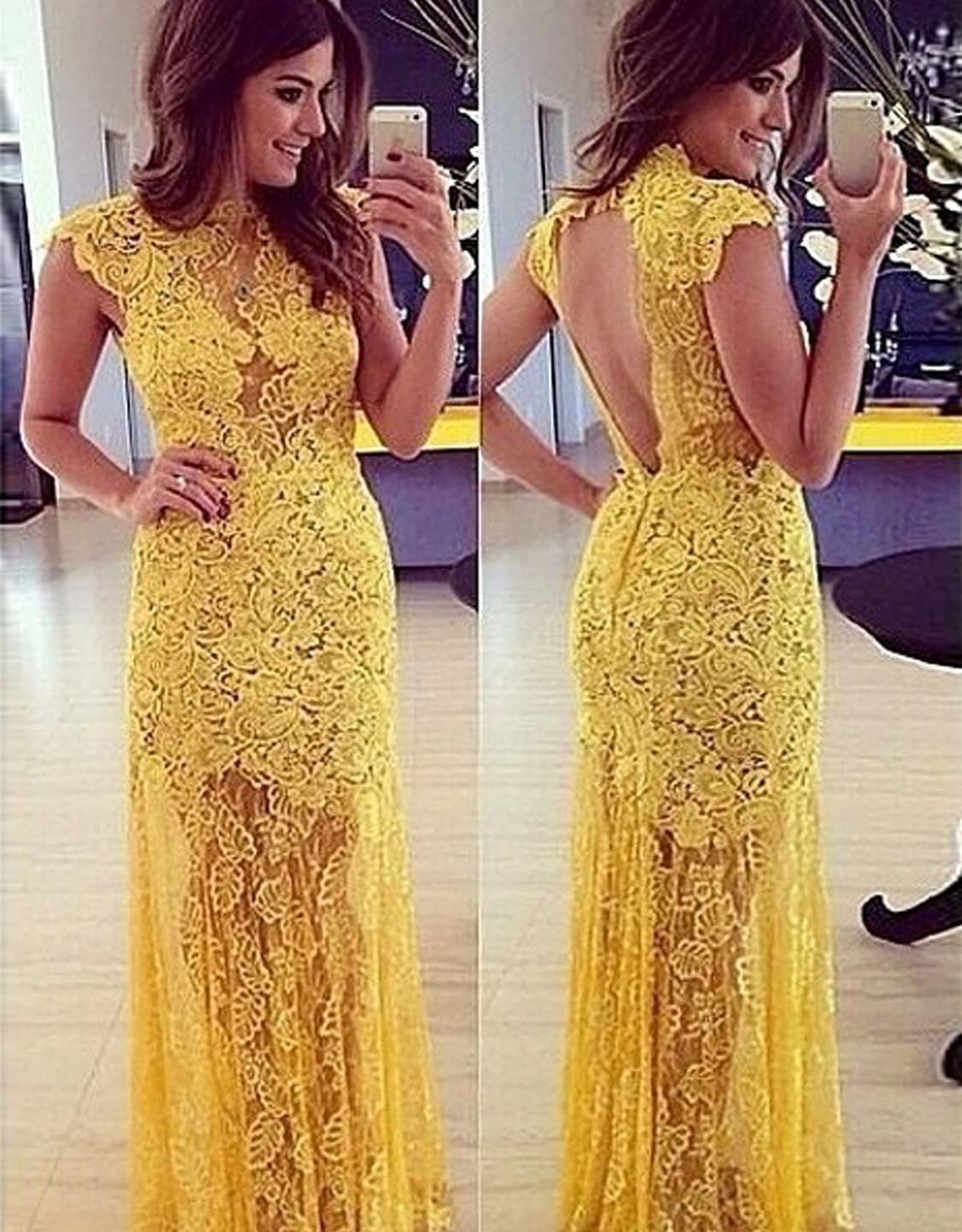 Tulle Lace Transparent S/M/L/XL Size Yellow Prom Long Dress With Open Back W633577
